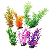 Foodie Puppies 6 in 1 Combo Artificial/Plastic Plant for Decoration of Aquarium - 8 inch Height - (Color May Vary)