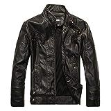 X&Armanis Giacca in Pelle Calda da Uomo, Giacche Vintage con Cerniera Artificiali Cappotto Giacca Moto in Pelle PU,1,XL