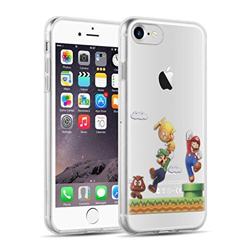 JAMMYLIZARD Silikonhülle für iPhone 8, iPhone 7 | Transparente Schutzhülle [Sketch Series] Back Cover Hülle Case aus Silikon, Mario Brüder