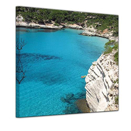 Wandbild - Menorca - Bild auf Leinwand - 60 x 60 cm - Leinwandbilder - Bilder als Leinwanddruck - Urlaub, Sonne & Meer - Mittelmeer - Europa - Spanien