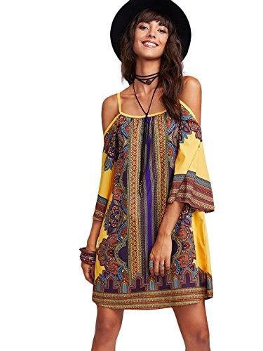 DIDK Femme Robe Courte Kimono Robe Imprimée Mixte À Bretelle épaules Dénudées Robe de Plage Soirée Casual Tunique Style Polychromie L DIDK