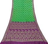 Vintage Reine Seide Woven Saree verwendet Green Craft Stoff