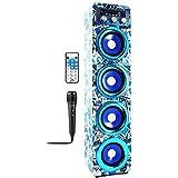 Altavoz Karaoke con Micrófono Bluetooth Portátil Inlámbrico USB Tarjeta SD Recargable con Radio FM