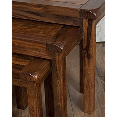 Oak and Pine Online Classically Modern Dark Wood Valencia Solid Rosewood Sheesham Nest Tables Living Room Furniture