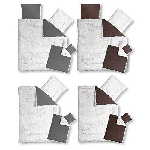 CelinaTex Minka, Bettwäsche Set warme kuschelig kuschel Winter Fleece Bettbezug Kissen 80×80 Flokati Fell-Optik Bettdecke grau