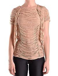Elisabetta Franchi Femme MCBI113072O Beige Viscose T-Shirt