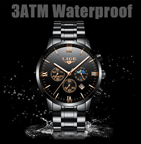 66df5bc6c6 Orologi da uomo LIGE in acciaio inox nero classico di lusso orologi da uomo  d'affari con lunare impermeabile multifunzioni orologio da polso al quarzo  per ...