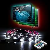 LED Streifen Aocerbek TV Hintergrundbeleuchtung USB mit Batterie Wasserdicht LED Fernseher Beleuchtung Lichtleiste mit Fernbedienung für HDTV, PC-Monitor Dekoration-1 metre