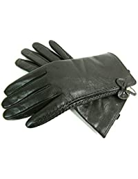 Ladies Womens New Super Soft Premium Luxary Genuine Bow Leather Gloves Fully Lined Winter Warm Everyday Driving (Large, Dark Green)