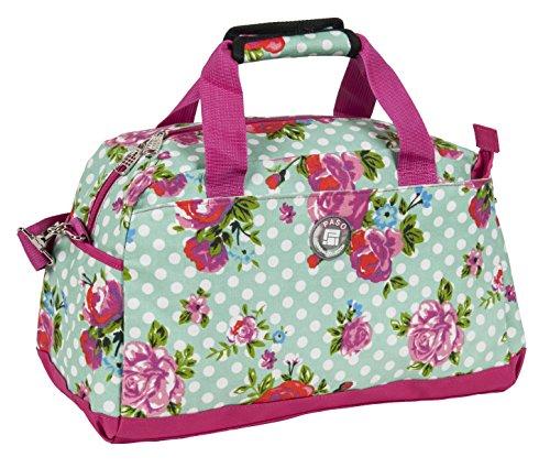 Sporttasche Freizeittasch Reisetasche mit Blumenmuster, türkis 45 x 25 x 22 cm