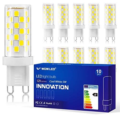 WOWLED 10 x G9 dimmbare LED-Leuchtmittel, 5 W, Mosaik Stil, 40 W, Ersatz Lampe, kaltweiß, 320 lm, 6000 K, für Kronleuchter, Wohndekoration, AC 220 V-240 V, 360 Grad -