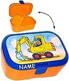 alles-meine.de GmbH Lunchbox / Brotdose -  Bagger & Baustelle  - Incl. Name - mit Extra Einsatz ..