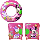 Disney Minnie Mouse Girls SET Pink Swimming Ring and a pair of ArmBands for Swimmin Pool or Beach