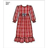 Simplicity Muster 8272HH Kind 's und Girl 's Nachtwäsche und Bademantel Schnittmuster, weiß, Größen 3–4–5–6
