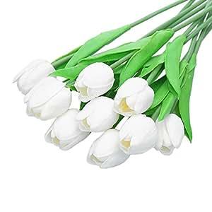 CCINEE - 10 mazzi di tulipani artificiali, effetto al tatto reale, per la casa, il giardino, matrimoni, decoro Bianco