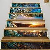 ZAAAX Treppen Aufkleber 6 Stücke Diy Abnehmbare 3D Treppe Aufkleber Fliesenmuster Für Zimmer Treppen Dekoration Wohnkultur Boden Wandaufkleber