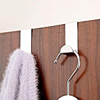 Lukzer (Pack of 2) Stainless Steel Adhesive Door Hooks Hanger (Silver)