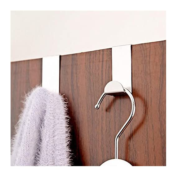 Lukzer Stainless Steel Adhesive 2 Piece Door Hooks Hanger (Multicolour)