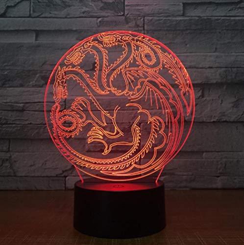 Luce Notturna 3D Illusione Ottica Led Lampada Drago Interruttore Tattile Cambio 7 Colori Lampada Da Letto Per Camera Da Letto Per Bambini, Regali Per Feste Di Compleanno Per Bambini