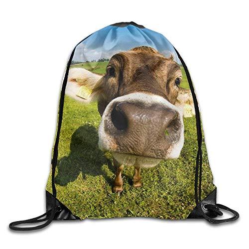 y Turnbeutel Hipster Unisex Wallpaper Desktop Cow Print Tote Sack Bag Rucksack Drawstring Backpack Travel Bag Daypack ()