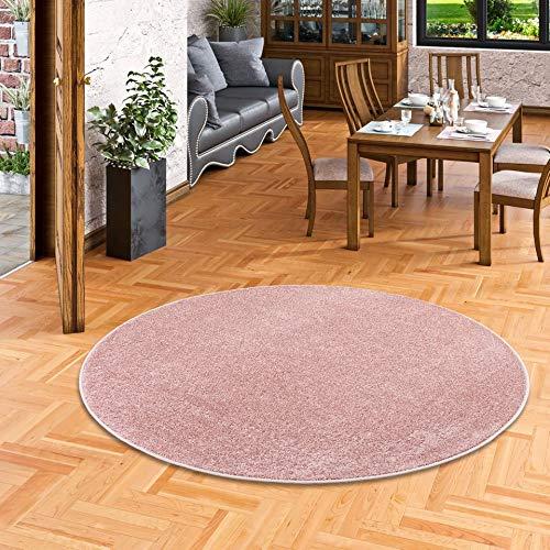 Snapstyle Hochflor Velours Teppich Luna Rosa Rund in 7 Größen