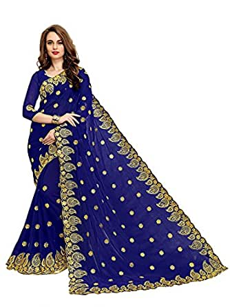 Zofey Designer Sarees Women's Georgette Embroidered Saree With Blouse Piece(MangoNavy-SAREE01_Navy_COLOUR)