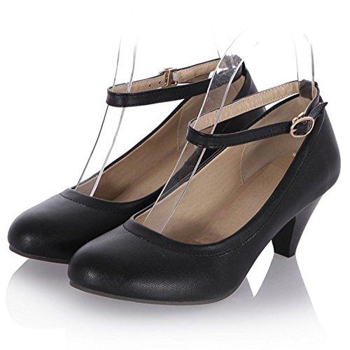TAOFFEN Femmes Talons Moyen Escarpins Confortable Bloc Sangle De Cheville Chaussures De Boucle Noir