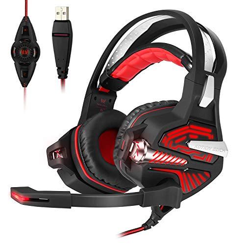 Mengshen Usb-Gaming-Headset - Mit 7.1 Surround-Stereo-Sound, Mikrofon, Vibrations-Effekt, RauschunterdrüCkung, LautstäRkeregler, Led-Licht - FüR PC-Spieler, GM9 Red