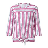 Best Man Wedding Patch - Sufeng Women Autumn 3/4 Sleeve Striped Patchwork Pullover Review