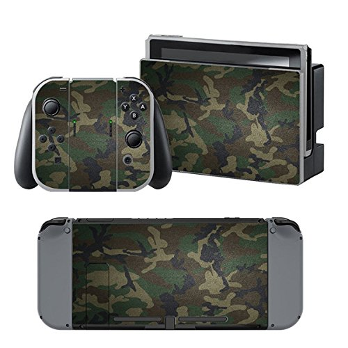 Chickwin Nintendo Switch Skin Consola Design Foils Vinyl Pegatina Sticker And 2 Thumb Grips (Verde Camuflaje)