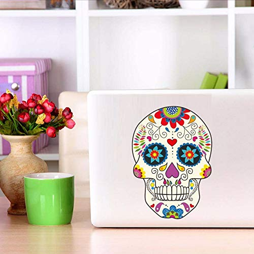 Creative Skull Color Wall Stickers Punk Rock Vinyl Removable Sugar Skull Wall Art Decals Posters For Computer Car Decoration 17.9 * 12.7.cm - Poster Computer Hardware