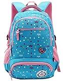 FLHT Kinder-Schultasche Jungen Und Mädchen 1-6 Klasse 6-12 Jahre Alt Grosse Kapazität Leichter Rucksack Mit Mehreren Taschen,Lightblue-big