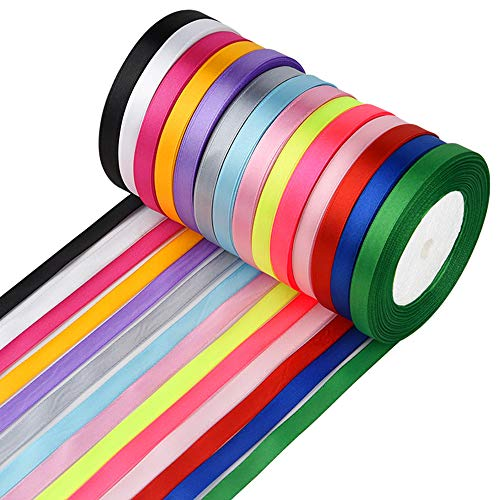 FEPITO 10 mm cinta de raso 350 yardas tela cinta satinado rollo 14 colores