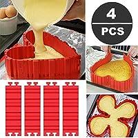 Specifiche: Nome del prodotto: Cuocere torte stampi in silicone Materiali: Silicone Dimensioni: 7.3x2.1in / 18.8x5.5cm (LW) Peso: 50g Peso totale: 200 g (4 pezzi)Come usare: ❥ Collegare due parti di utensile prima torta insieme su una superfi...