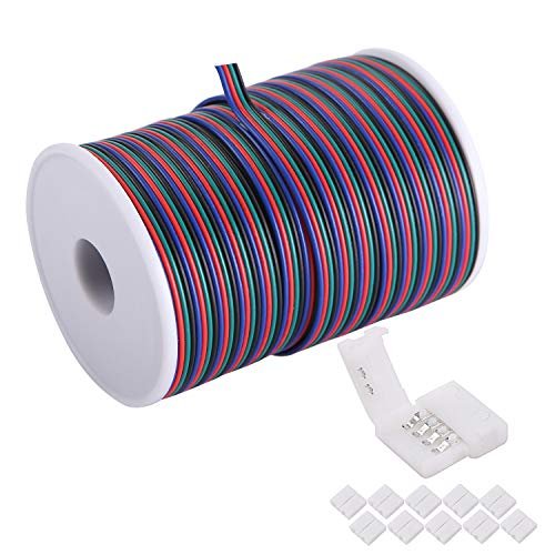 C-able 100ft(30.5m) 22 AWG 4Pin RGB Wire Extension Cable with Spool, Led Lights Wires Strip Extend Wire for 5050 3528, with 8PCS RGB Led Strip Connectors