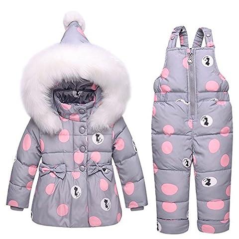 Baby Bekleidungsset Mädchen Jacket 2tlg Kinder Winterjacke mit Kapuze Daunenjacke Outerwear Steppjacke + Daunenhose 1-3 Jahre alt (Etikett 100cm für Körpergröße 90-100cm, Grau