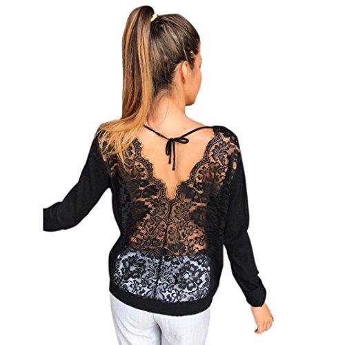 Hevoiok Damen Sexy Rückenfrei Lace Shirt Bluse Mode Frühling T-Shirts Frauen Casual Einfarbige Tops Rundhals Spitze Sweatshirt Oberteile (Schwarzer, XL) (Leggings Ärmellos Neckholder)