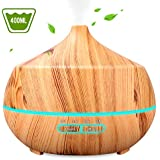 INSMART 400ml Essential Oil Diffuser, 4 Timer Ultrasonic Aroma Aromatherapy Diffuser Humidifier - 7 Color LED Lights, Waterless Auto-Off for Yoga,Salon,Spa,Office,Bedroom - Yellow Wood Grain