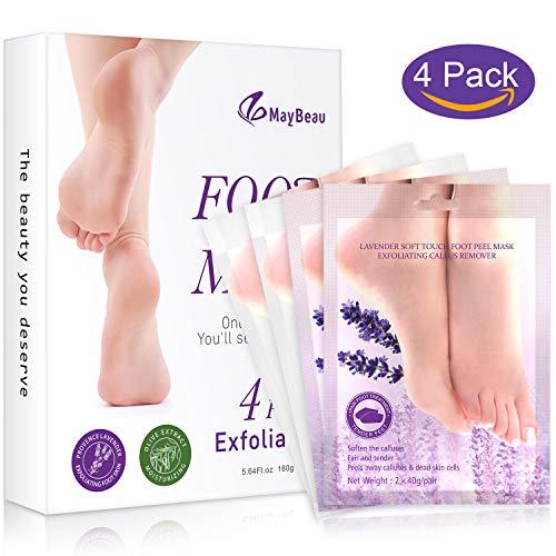 FYLINA Peeling-Maske (4 Paar), Peeling-Schuhe, zum Abziehen von Schwielen und Toter Haut, Baby-Füße für Männer und Frauen in 7 Tagen (lavendelfarben und Oliv)