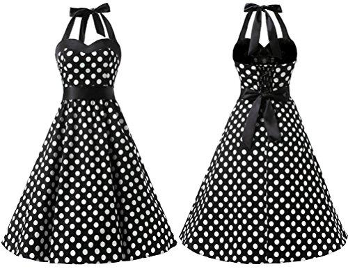 Dresstells Neckholder Rockabilly 50er Vintage Retro Kleid Petticoat Faltenrock Blue Black Dot