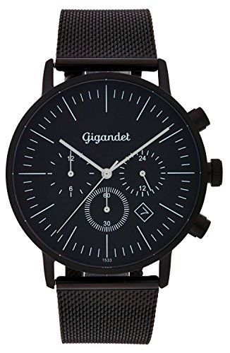 Gigandet Quartz Men's Quartz Watch with Milanese Minimalism III Dual Time Analog Date Stainless Steel Bracelet Black G22 007