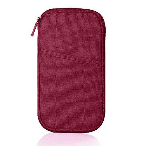 Hrph Multifunktionale Taschen Travel-Pass-Halter Ticket Geldbeutel Handtasche ID Kreditkarte -Kasten-Organisator-Beutel Wine Red