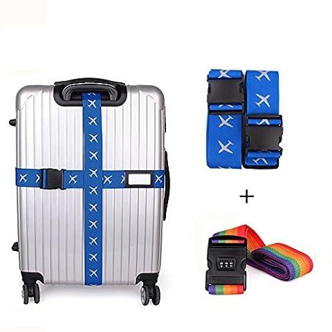 BoomYou réglable Travel Luggage Strap Emballage Suitcase Ceinture Sangles de sécurité Ratchet Tie Down Strap avec Side Release Buckle Clip avec Travel Belt Tags & Combination Lock 2 Pcs (Cross Blue & Rainbow)