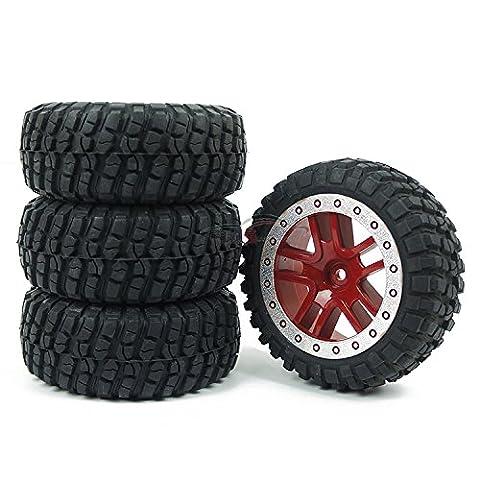 Junsi Red Nylon Composites Rubber Tires Wheel Rim Jante for 1/10 Short Course Traxxas Slash