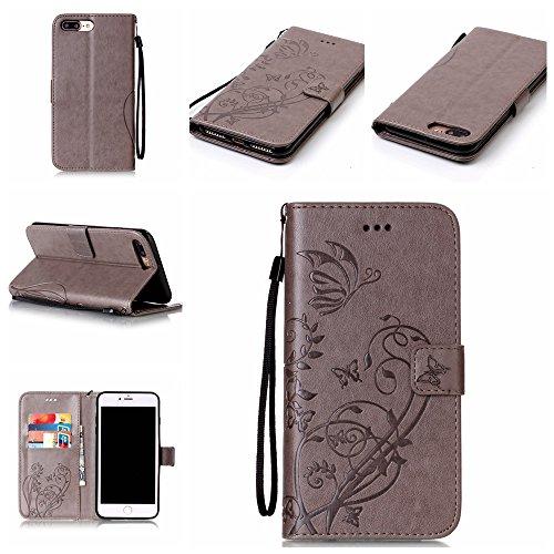 iPhone 7 Plus Hülle, iPhone 7 Plus Neo Hülle Case, iPhone 7 Plus Leder Brieftasche Hülle Case,Cozy Hut iPhone 7 Plus Leder Hülle iPhone 7 Plus Ledertasche Brieftasche Schutz Handytasche mit Standfunkt grau