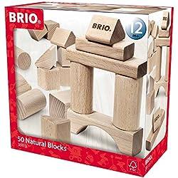 BRIO 30113 50pieza(s) bloque de construcción para niños - bloques de construcción para niños (50 pieza(s), Madera, Madera, Arco, Cilindro, Rectangular, Plaza, Triángulo, Monótono, 1 año(s))