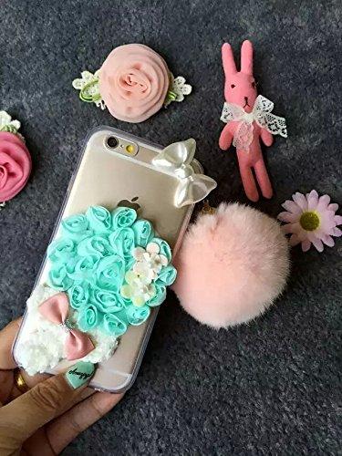 Coque iPhone 6 Plus/6S Plus , iNenk® Le nouveau trois dimensions de tissu Lollipop dentelle romantique Fleur Doux Coquille TPU Amour Housse Transparent Blanc Rose Vert de protection-tous rose green Flower