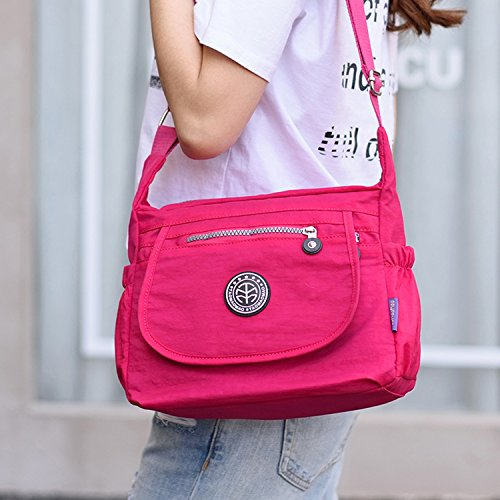 Outreo Umhängetasche Damen Taschen Designer Messenger Bag Wasserdicht Schultertasche Mode Kuriertasche Leichter Reisetasche Lässige Rot 1