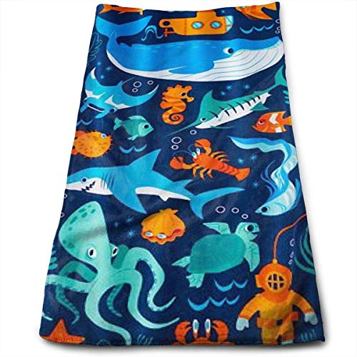 Hipiyoled Sharks and Sea Creatures Cotton Bath Towels for Hotel-Spa-Pool-Gym-Bathroom - Super Soft Absorbent Ringspun Towels Sonoma-bar Set