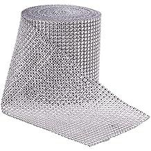 BENECREAT 9.14m Diamante espumoso Brillante Rollo de Cinta de Malla de Diamantes de Imitacion para